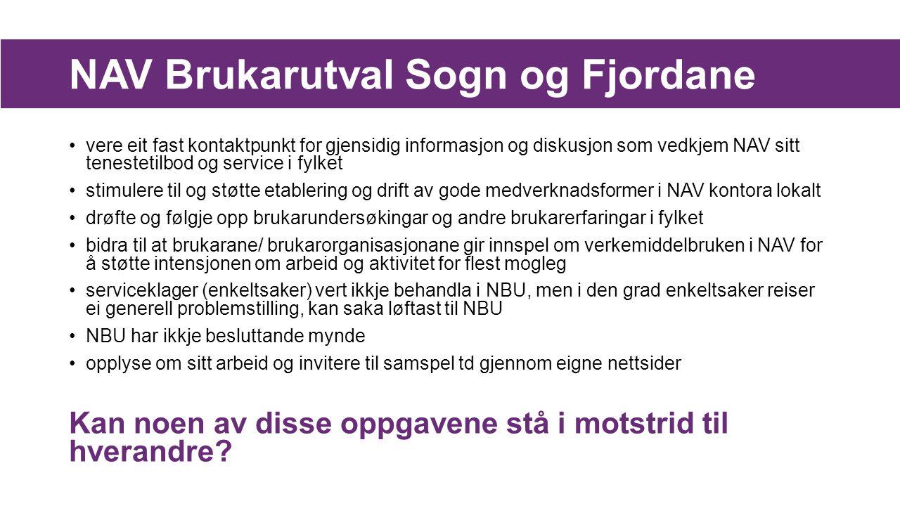 NAV Brukarutval Sogn og Fjordane vere eit fast kontaktpunkt for gjensidig informasjon og diskusjon som vedkjem NAV sitt tenestetilbod og service i fyl