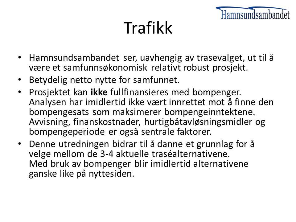 Trafikk Hamnsundsambandet ser, uavhengig av trasevalget, ut til å være et samfunnsøkonomisk relativt robust prosjekt. Betydelig netto nytte for samfun