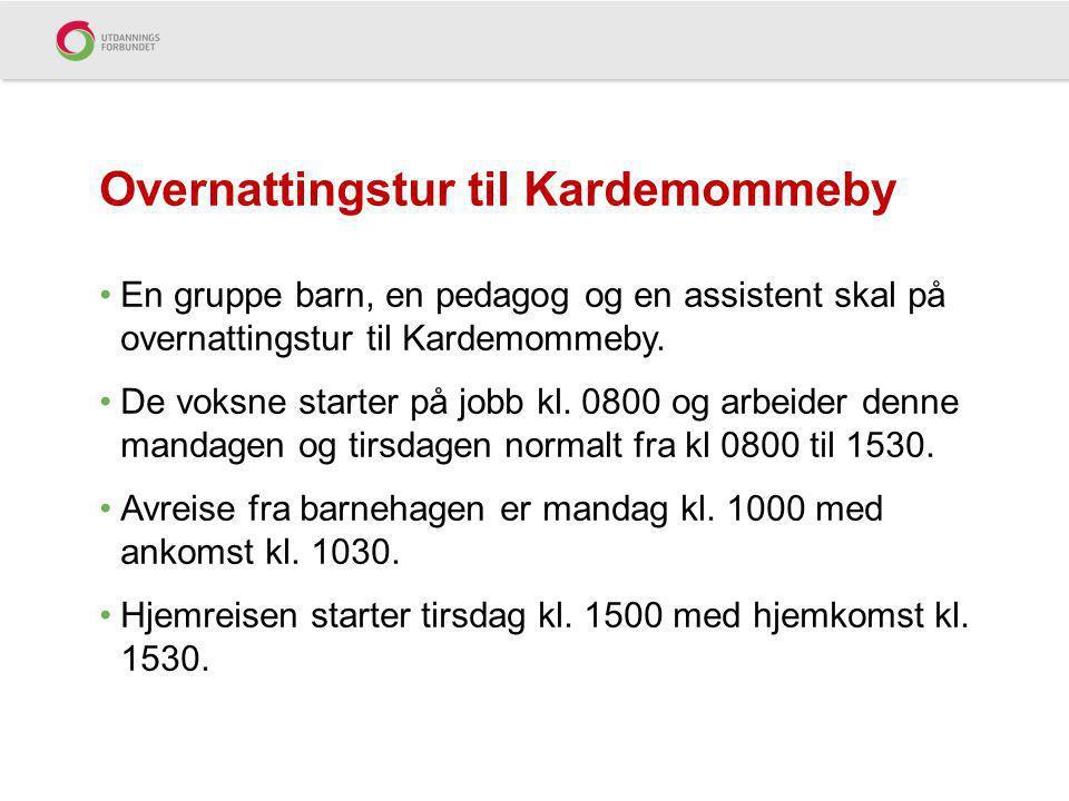 En gruppe barn, en pedagog og en assistent skal på overnattingstur til Kardemommeby.