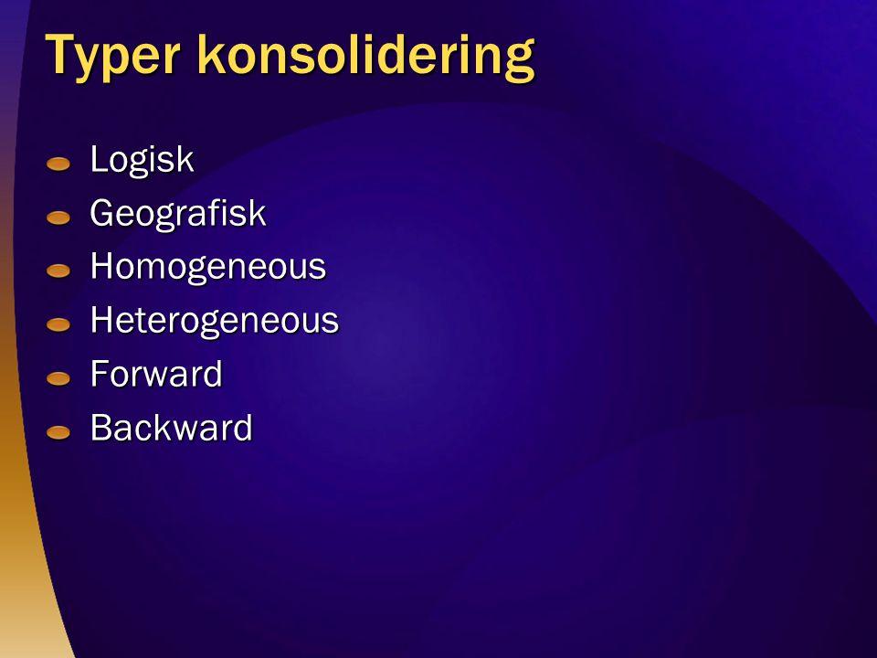 Typer konsolidering LogiskGeografiskHomogeneousHeterogeneousForwardBackward