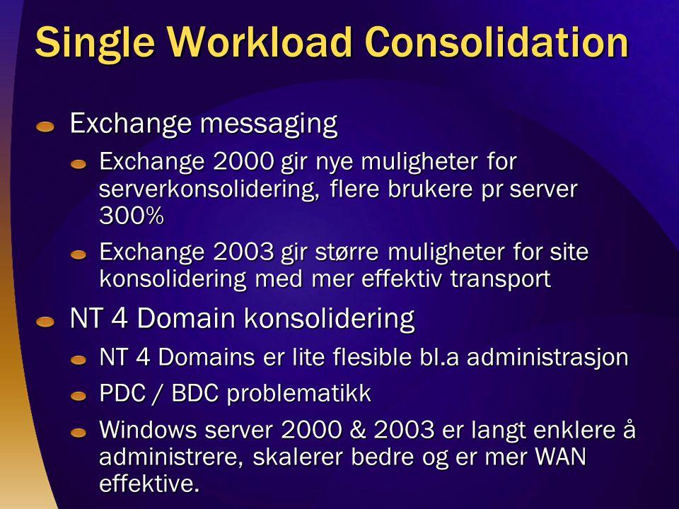 Single Workload Consolidation Exchange messaging Exchange 2000 gir nye muligheter for serverkonsolidering, flere brukere pr server 300% Exchange 2003 gir større muligheter for site konsolidering med mer effektiv transport NT 4 Domain konsolidering NT 4 Domains er lite flesible bl.a administrasjon PDC / BDC problematikk Windows server 2000 & 2003 er langt enklere å administrere, skalerer bedre og er mer WAN effektive.