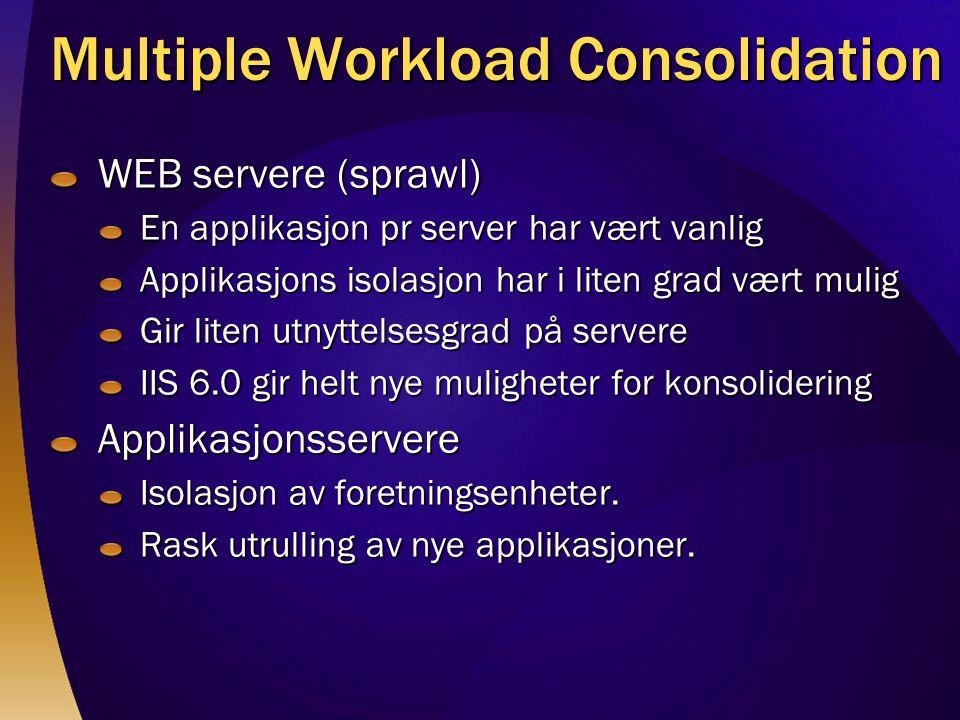 Multiple Workload Consolidation WEB servere (sprawl) En applikasjon pr server har vært vanlig Applikasjons isolasjon har i liten grad vært mulig Gir liten utnyttelsesgrad på servere IIS 6.0 gir helt nye muligheter for konsolidering Applikasjonsservere Isolasjon av foretningsenheter.