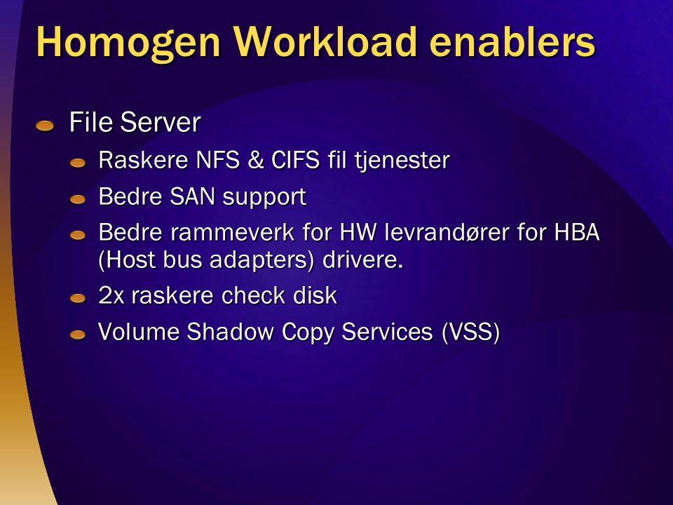 Homogen Workload enablers File Server Raskere NFS & CIFS fil tjenester Bedre SAN support Bedre rammeverk for HW levrandører for HBA (Host bus adapters) drivere.