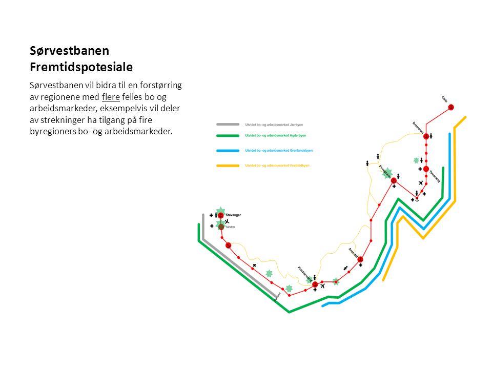 Sørvestbanen Fremtidspotesiale Sørvestbanen vil bidra til en forstørring av regionene med flere felles bo og arbeidsmarkeder, eksempelvis vil deler av