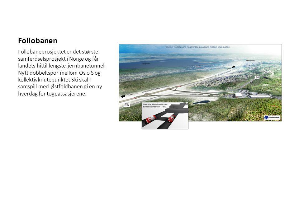 Follobanen Follobaneprosjektet er det største samferdselsprosjekt i Norge og får landets hittil lengste jernbanetunnel. Nytt dobbeltspor mellom Oslo S