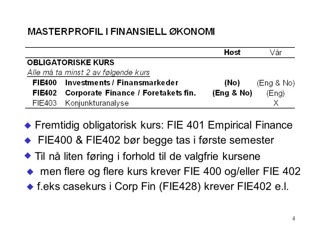 4  Fremtidig obligatorisk kurs: FIE 401 Empirical Finance  FIE400 & FIE402 bør begge tas i første semester  Til nå liten føring i forhold til de valgfrie kursene  men flere og flere kurs krever FIE 400 og/eller FIE 402  f.eks casekurs i Corp Fin (FIE428) krever FIE402 e.l.