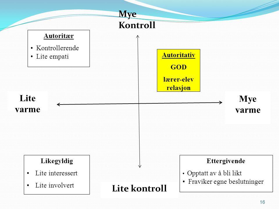 Mye varme Autoritær Kontrollerende Lite empati Lite varme Lite kontroll 16 Mye Kontroll Likegyldig Lite interessert Lite involvert Ettergivende Opptat