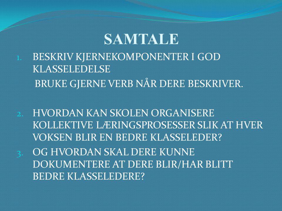 SAMTALE 1. BESKRIV KJERNEKOMPONENTER I GOD KLASSELEDELSE BRUKE GJERNE VERB NÅR DERE BESKRIVER. 2. HVORDAN KAN SKOLEN ORGANISERE KOLLEKTIVE LÆRINGSPROS