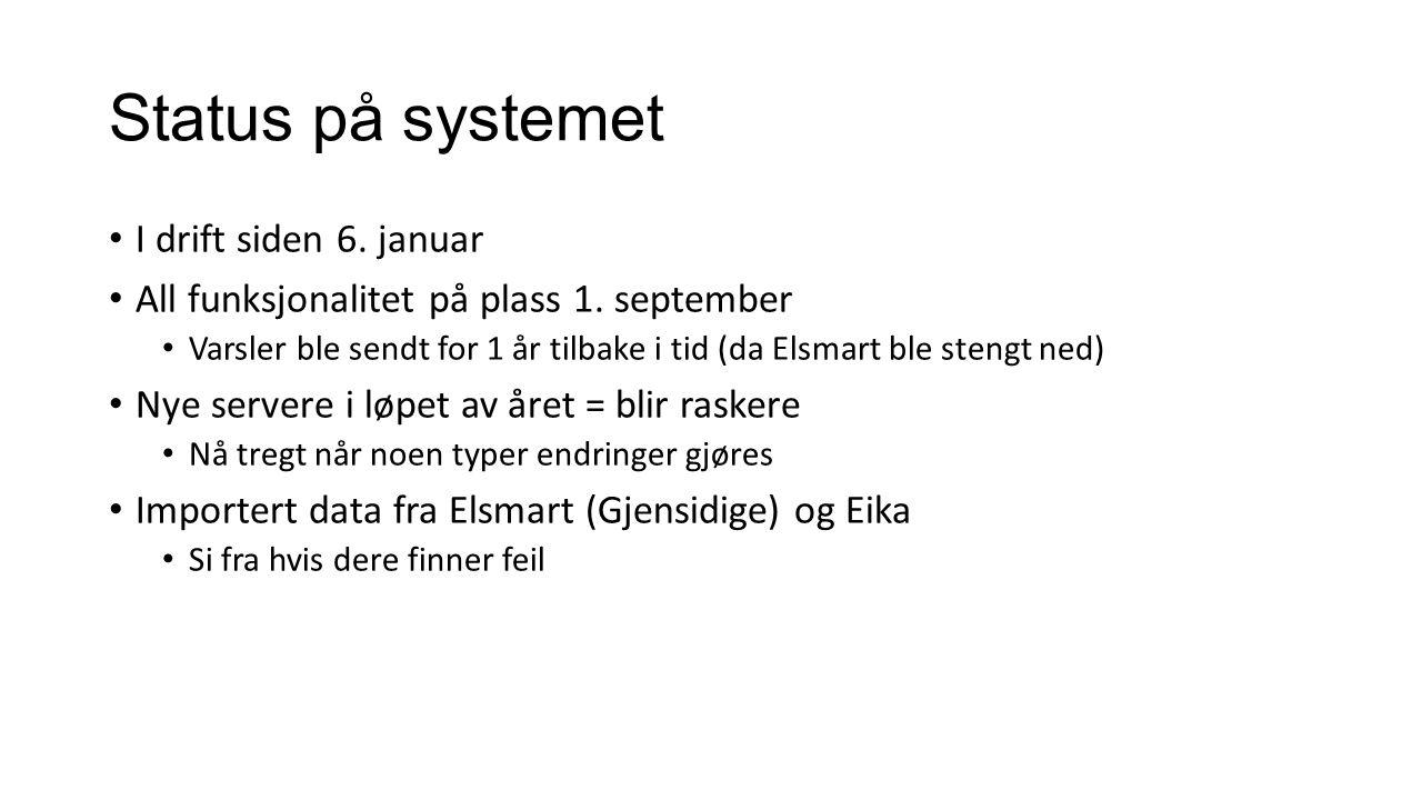 Status på systemet I drift siden 6. januar All funksjonalitet på plass 1. september Varsler ble sendt for 1 år tilbake i tid (da Elsmart ble stengt ne