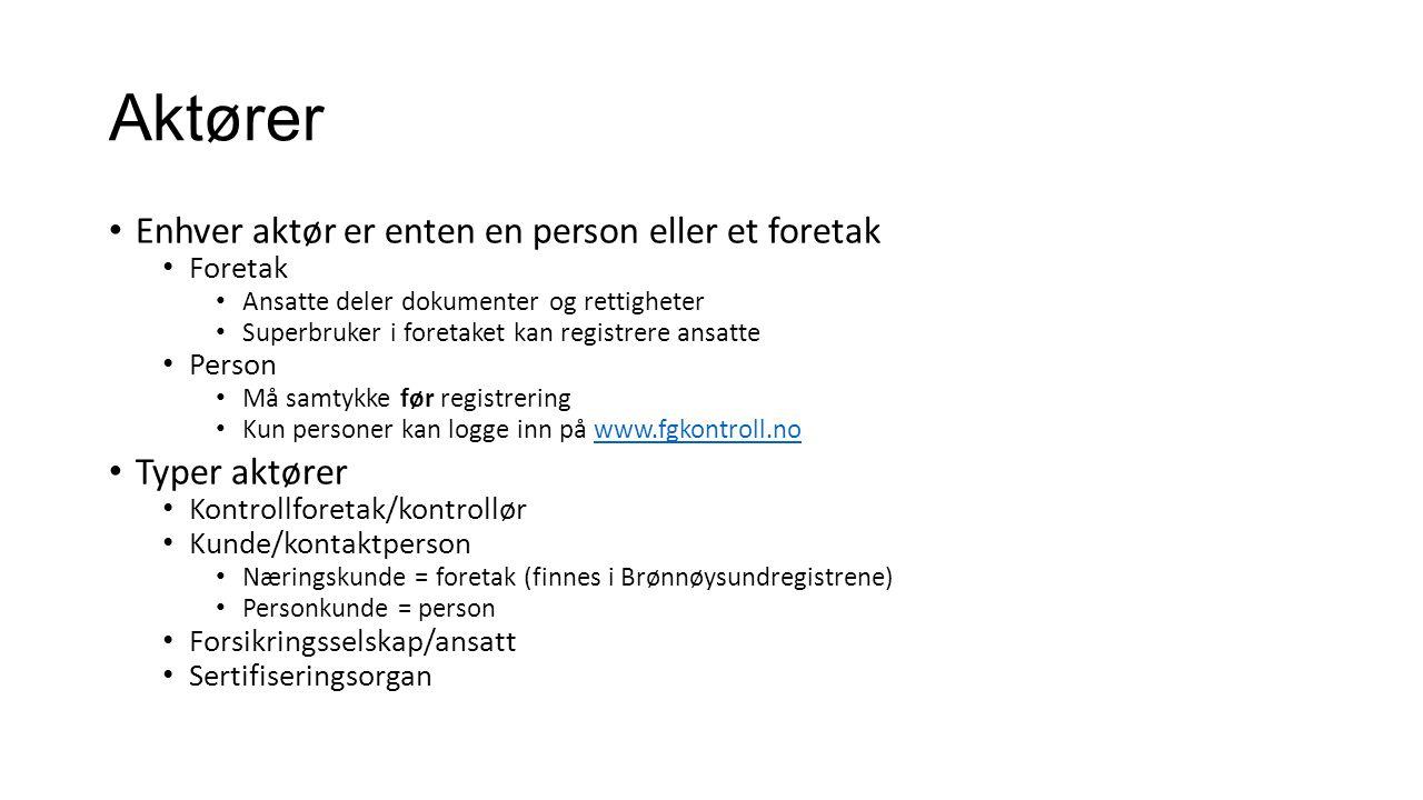 Aktører Enhver aktør er enten en person eller et foretak Foretak Ansatte deler dokumenter og rettigheter Superbruker i foretaket kan registrere ansatt