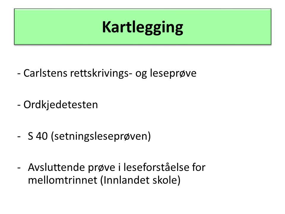 Kartlegging - Carlstens rettskrivings- og leseprøve - Ordkjedetesten -S 40 (setningsleseprøven) -Avsluttende prøve i leseforståelse for mellomtrinnet (Innlandet skole)