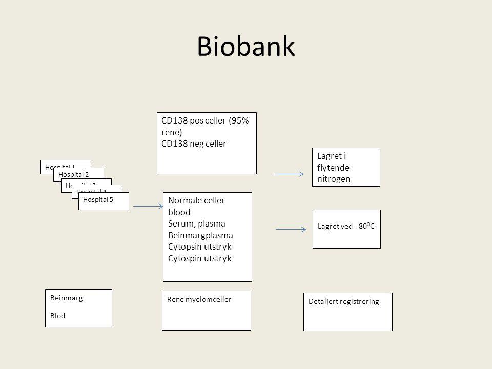 Biobank Hospital 1 Hospital 2 Hospital 3 Hospital 4 Hospital 5 CD138 pos celler (95% rene) CD138 neg celler Normale celler blood Serum, plasma Beinmar