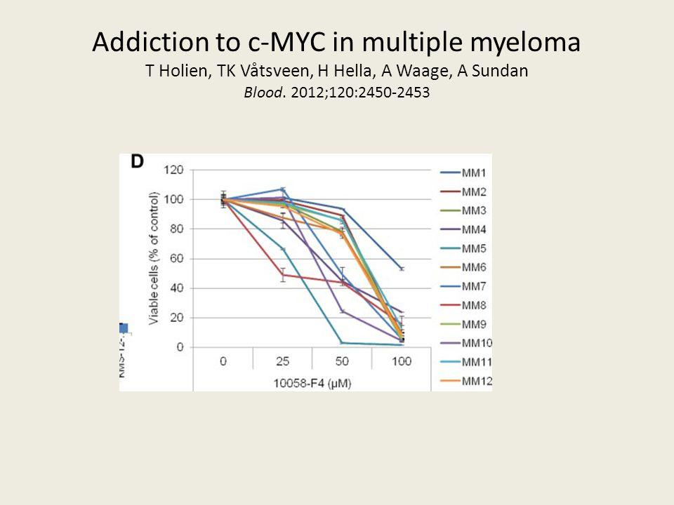 Addiction to c-MYC in multiple myeloma T Holien, TK Våtsveen, H Hella, A Waage, A Sundan Blood. 2012;120:2450-2453