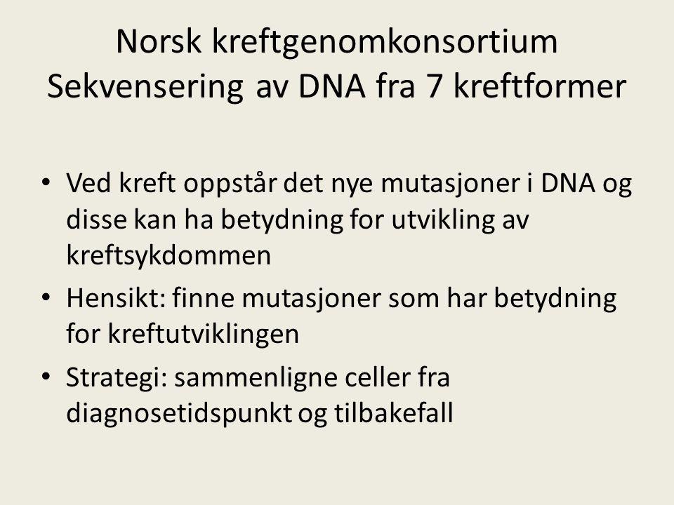 Norsk kreftgenomkonsortium Sekvensering av DNA fra 7 kreftformer Ved kreft oppstår det nye mutasjoner i DNA og disse kan ha betydning for utvikling av kreftsykdommen Hensikt: finne mutasjoner som har betydning for kreftutviklingen Strategi: sammenligne celler fra diagnosetidspunkt og tilbakefall