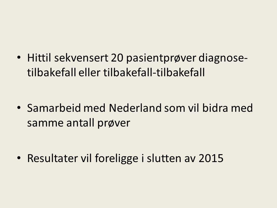 Hittil sekvensert 20 pasientprøver diagnose- tilbakefall eller tilbakefall-tilbakefall Samarbeid med Nederland som vil bidra med samme antall prøver R