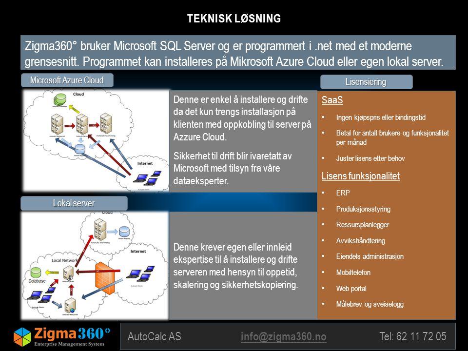 Zigma360° bruker Microsoft SQL Server og er programmert i.net med et moderne grensesnitt. Programmet kan installeres på Mikrosoft Azure Cloud eller eg