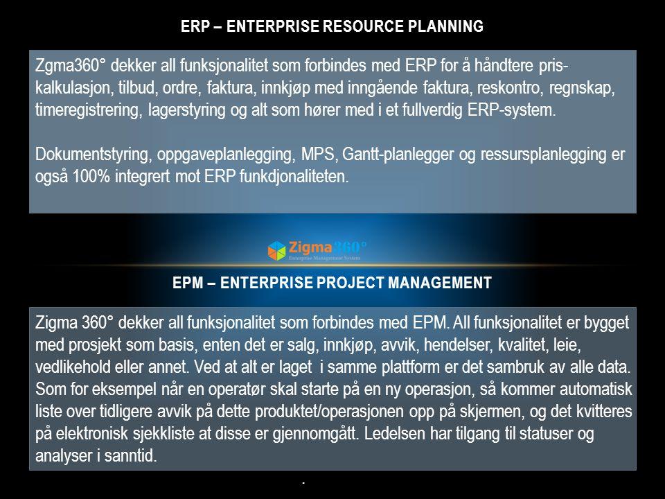 Zigma 360° dekker all funksjonalitet som forbindes med EPM. All funksjonalitet er bygget med prosjekt som basis, enten det er salg, innkjøp, avvik, he