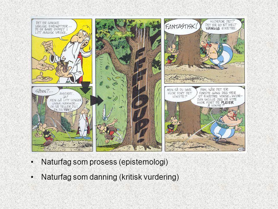 Naturfag som prosess (epistemologi) Naturfag som danning (kritisk vurdering)