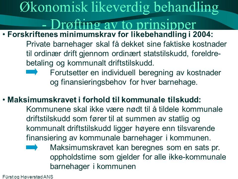 Økonomisk likeverdig behandling - Drøfting av to prinsipper Forskriftenes minimumskrav for likebehandling i 2004: Private barnehager skal få dekket si