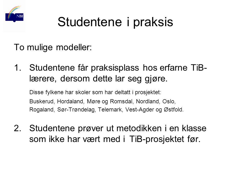 Studentene i praksis To mulige modeller: 1.Studentene får praksisplass hos erfarne TiB- lærere, dersom dette lar seg gjøre. Disse fylkene har skoler s