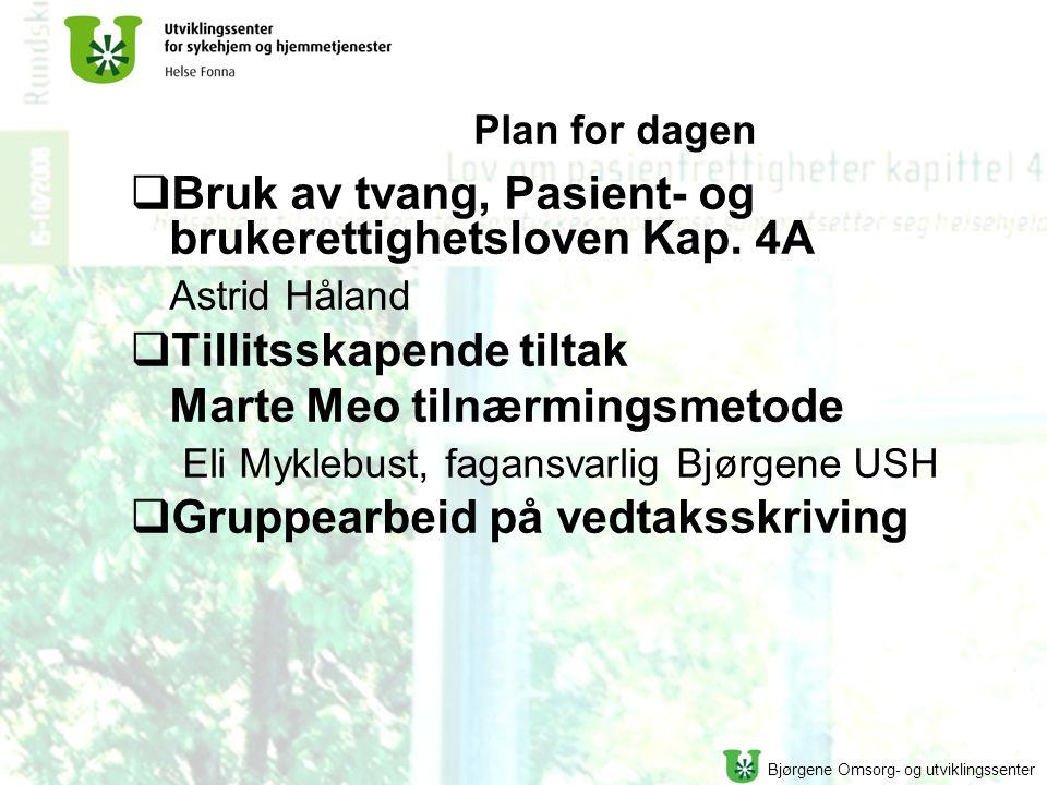 Bjørgene Omsorg- og utviklingssenter Plan for dagen  Bruk av tvang, Pasient- og brukerettighetsloven Kap. 4A Astrid Håland  Tillitsskapende tiltak M