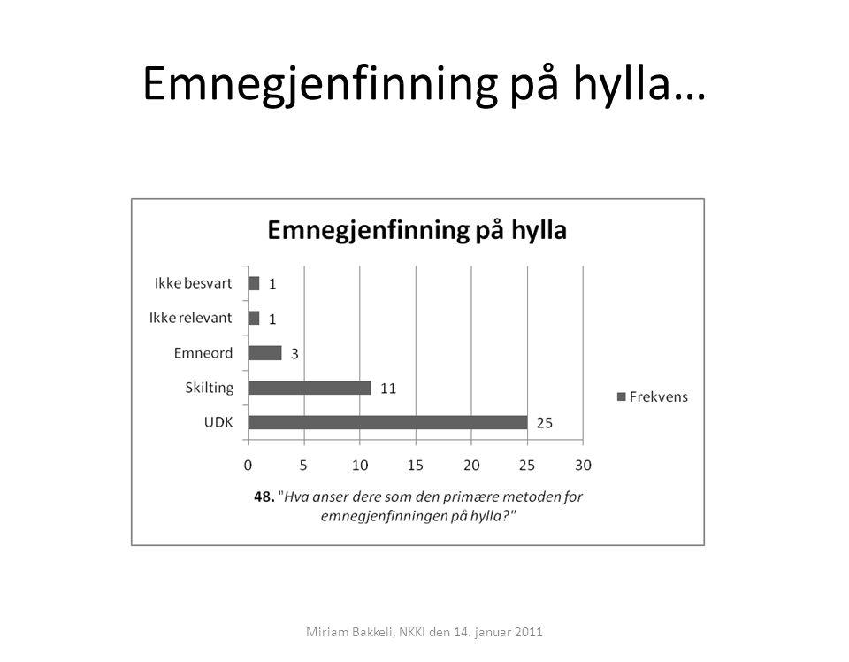 Emnegjenfinning på hylla… Miriam Bakkeli, NKKI den 14. januar 2011