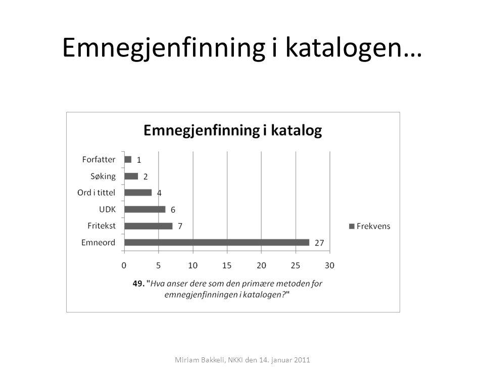 Emnegjenfinning i katalogen… Miriam Bakkeli, NKKI den 14. januar 2011