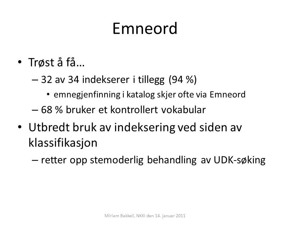 Emneord Trøst å få… – 32 av 34 indekserer i tillegg (94 %) emnegjenfinning i katalog skjer ofte via Emneord – 68 % bruker et kontrollert vokabular Utb