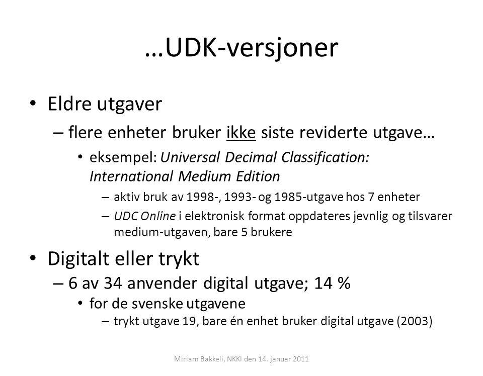 …UDK-versjoner Eldre utgaver – flere enheter bruker ikke siste reviderte utgave… eksempel: Universal Decimal Classification: International Medium Edit