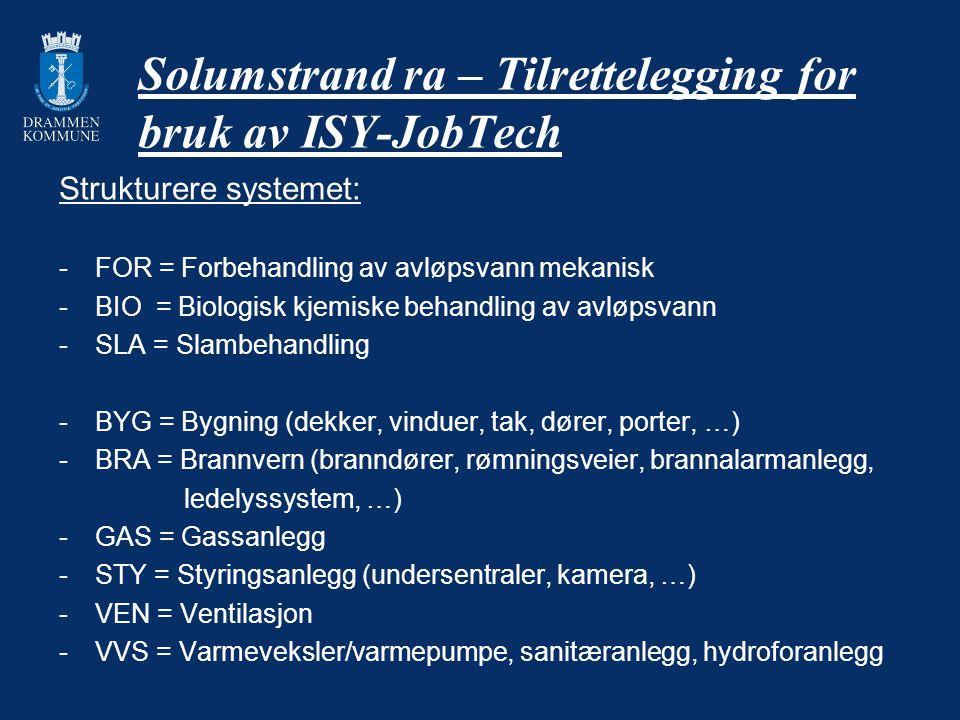 Solumstrand ra – Tilrettelegging for bruk av ISY-JobTech Strukturere systemet: -FOR = Forbehandling av avløpsvann mekanisk -BIO = Biologisk kjemiske b