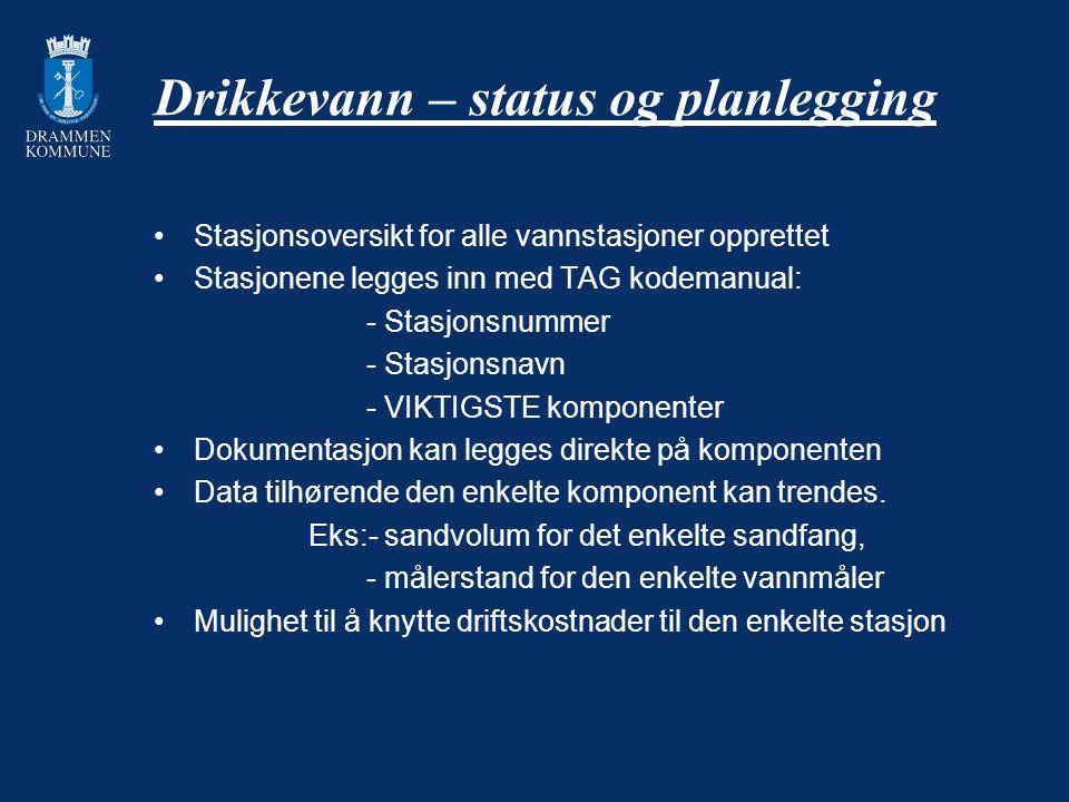 Drikkevann – status og planlegging Stasjonsoversikt for alle vannstasjoner opprettet Stasjonene legges inn med TAG kodemanual: - Stasjonsnummer - Stas