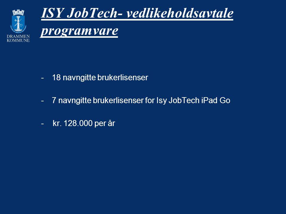 ISY JobTech- vedlikeholdsavtale programvare -18 navngitte brukerlisenser -7 navngitte brukerlisenser for Isy JobTech iPad Go - kr. 128.000 per år