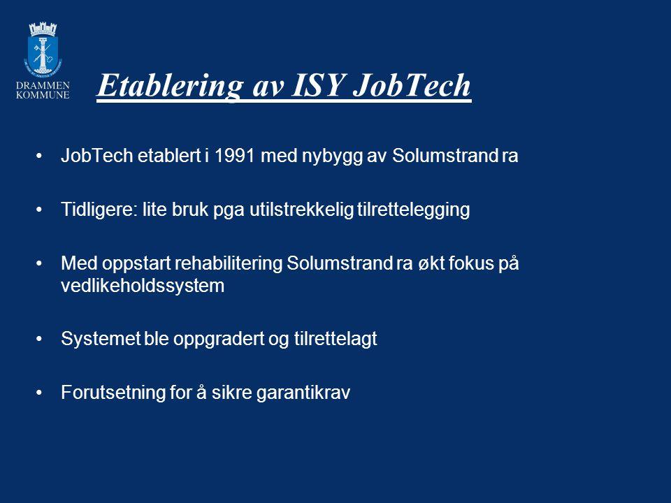 Forutsetning for etableringen 1) Beslutning om at JobTech skal brukes videre som sentralt FDV- system i VA – Drammen kommune og forankring i KS-systemet 2) Krav om dokumentasjon for bruk i JobTech måtte forankres i tilbudsgrunnlagene for rehabilitering Solumstrand ra + permanent oppfølging av innlevering av dokumentasjon 3) Alt utstyr måtte tagges med enhetlig system 4) Følger opp oppgradering ISY JobTech for - Muusøya renseanlegg - Utestasjoner avløp - Drikkevannstasjoner