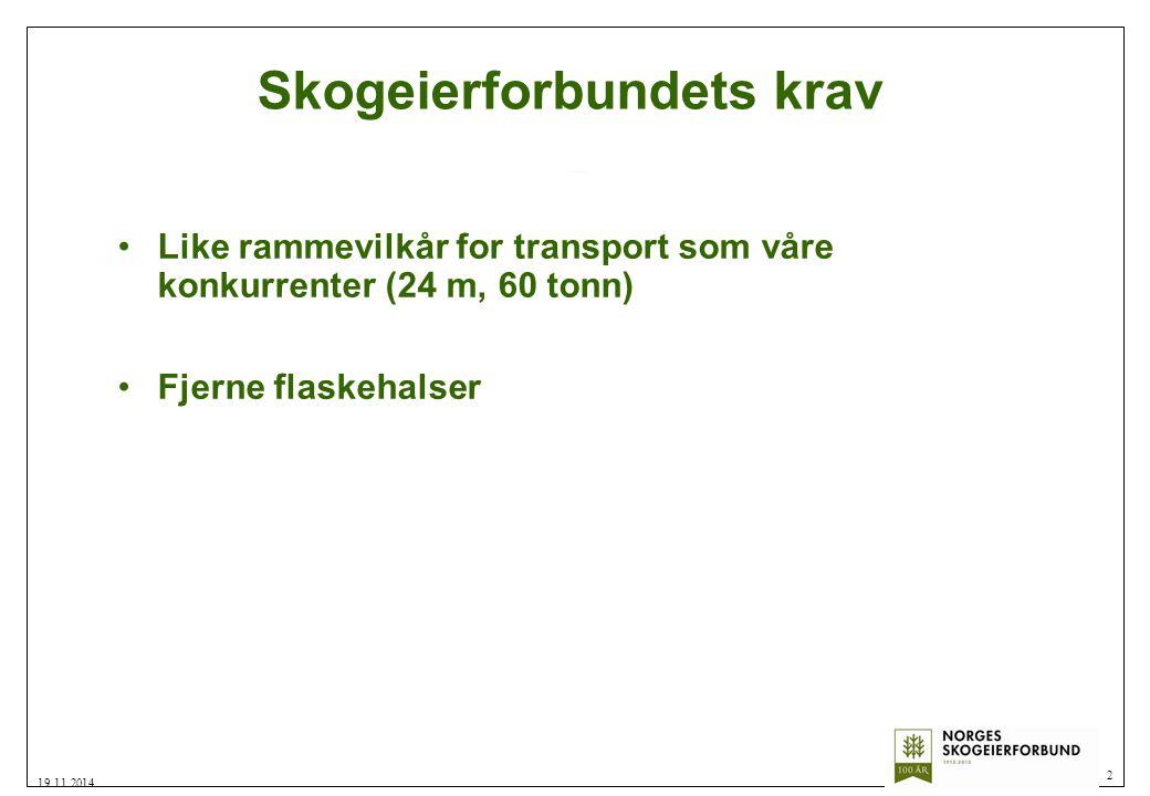 Skogeierforbundets krav Like rammevilkår for transport som våre konkurrenter (24 m, 60 tonn) Fjerne flaskehalser 2 19.11.2014