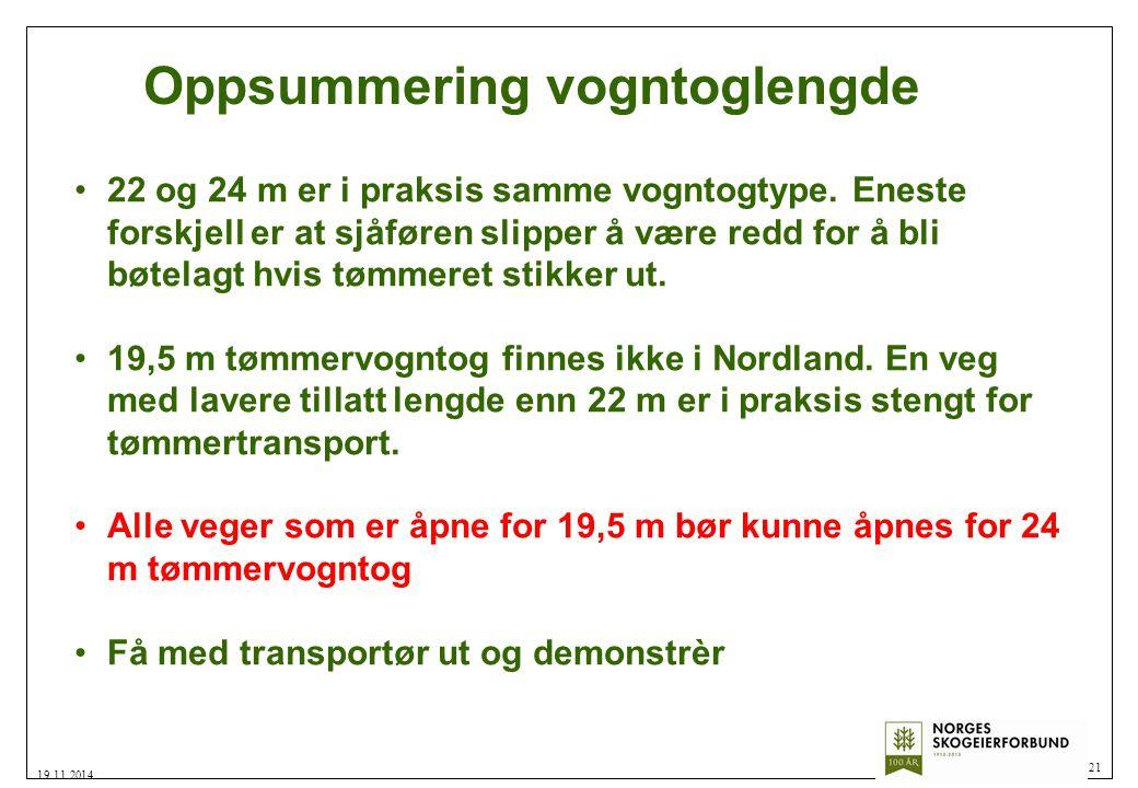 Oppsummering vogntoglengde 21 19.11.2014 22 og 24 m er i praksis samme vogntogtype.