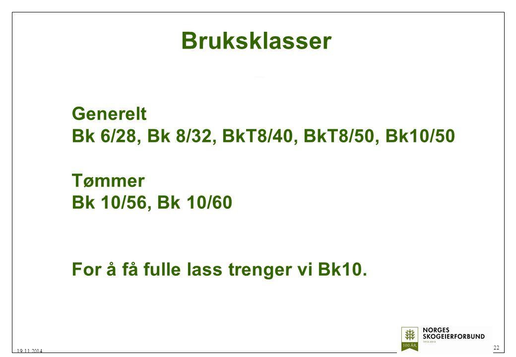 Bruksklasser 22 19.11.2014 Generelt Bk 6/28, Bk 8/32, BkT8/40, BkT8/50, Bk10/50 Tømmer Bk 10/56, Bk 10/60 For å få fulle lass trenger vi Bk10.