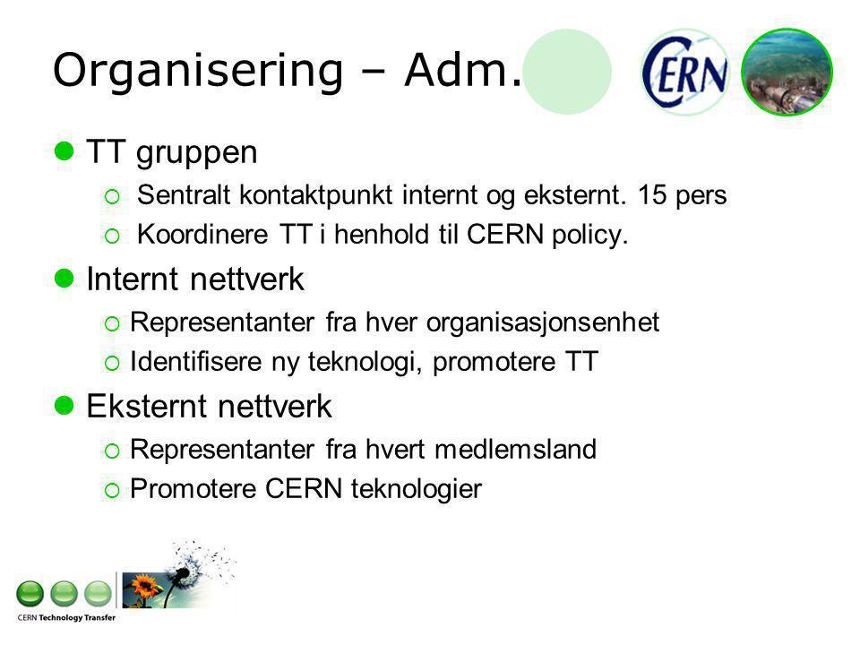 Organisering – Adm. TT gruppen  Sentralt kontaktpunkt internt og eksternt.