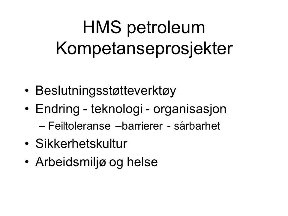 HMS petroleum Kompetanseprosjekter Beslutningsstøtteverktøy Endring - teknologi - organisasjon –Feiltoleranse –barrierer - sårbarhet Sikkerhetskultur Arbeidsmiljø og helse