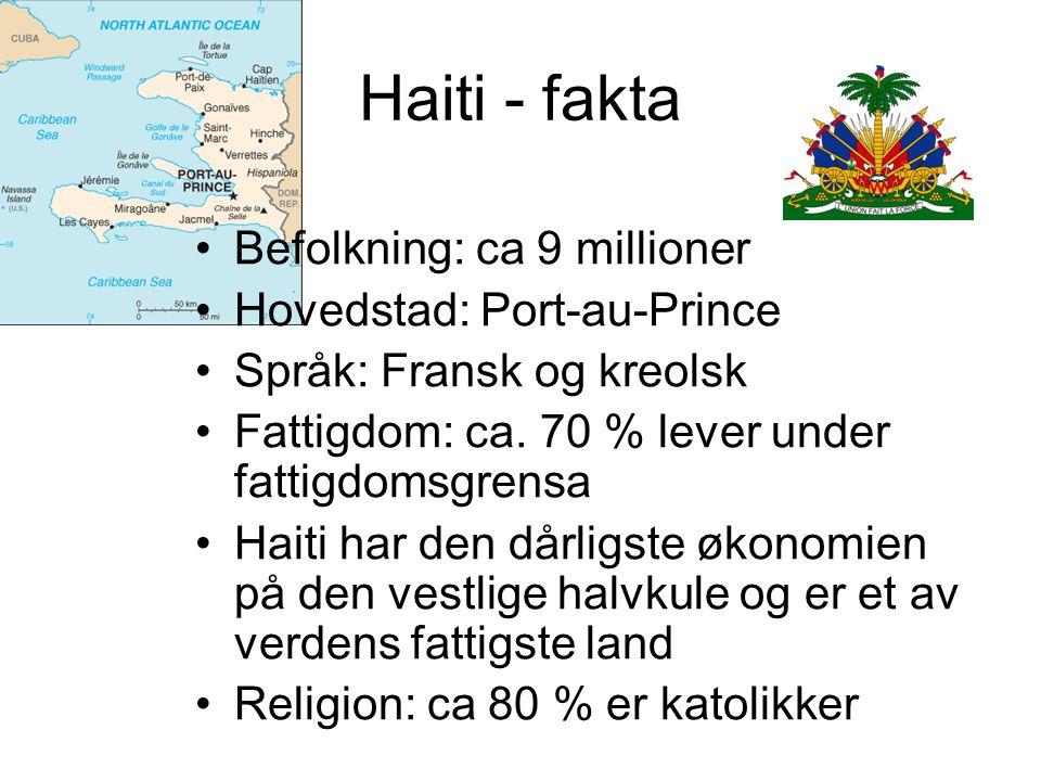 Haiti - fakta Befolkning: ca 9 millioner Hovedstad: Port-au-Prince Språk: Fransk og kreolsk Fattigdom: ca. 70 % lever under fattigdomsgrensa Haiti har