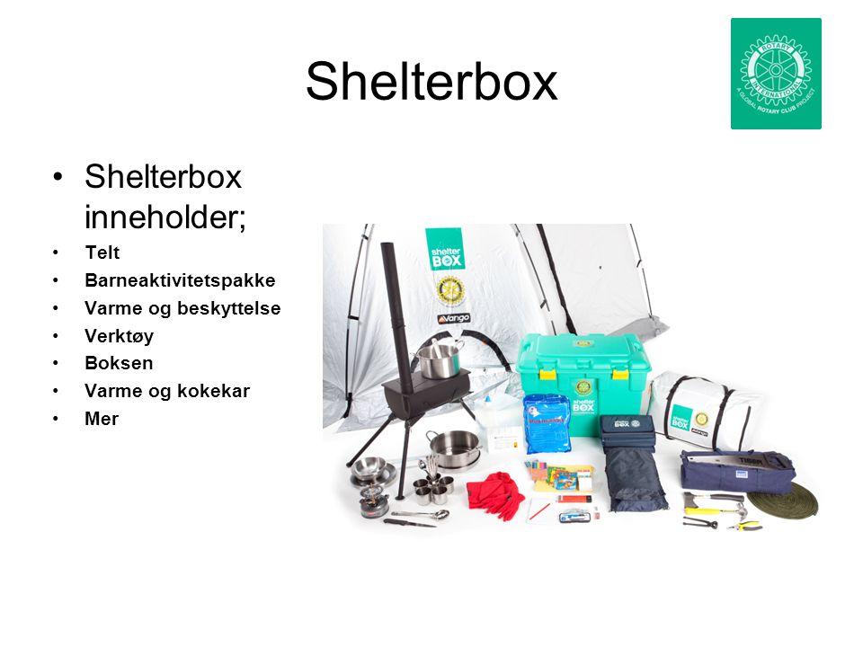 Shelterbox Shelterbox inneholder; Telt Barneaktivitetspakke Varme og beskyttelse Verktøy Boksen Varme og kokekar Mer