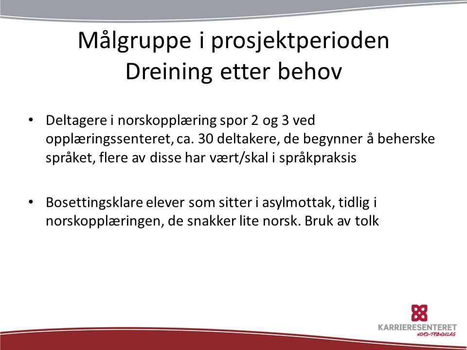 Målgruppe i prosjektperioden Dreining etter behov Deltagere i norskopplæring spor 2 og 3 ved opplæringssenteret, ca.