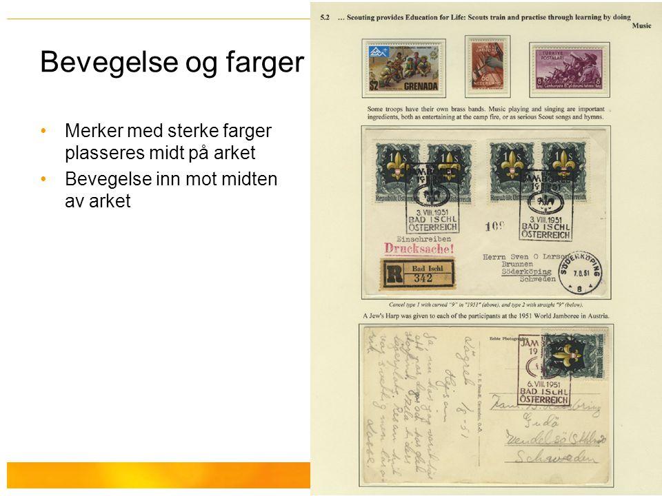 Hallvard Slettebø Bevegelse og farger Merker med sterke farger plasseres midt på arket Bevegelse inn mot midten av arket