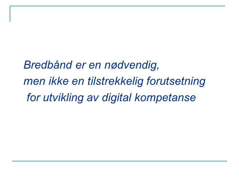Bredbånd er en nødvendig, men ikke en tilstrekkelig forutsetning for utvikling av digital kompetanse