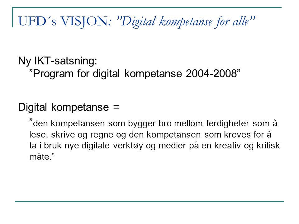 UFD´s VISJON: Digital kompetanse for alle Ny IKT-satsning: Program for digital kompetanse 2004-2008 Digital kompetanse = den kompetansen som bygger bro mellom ferdigheter som å lese, skrive og regne og den kompetansen som kreves for å ta i bruk nye digitale verktøy og medier på en kreativ og kritisk måte.