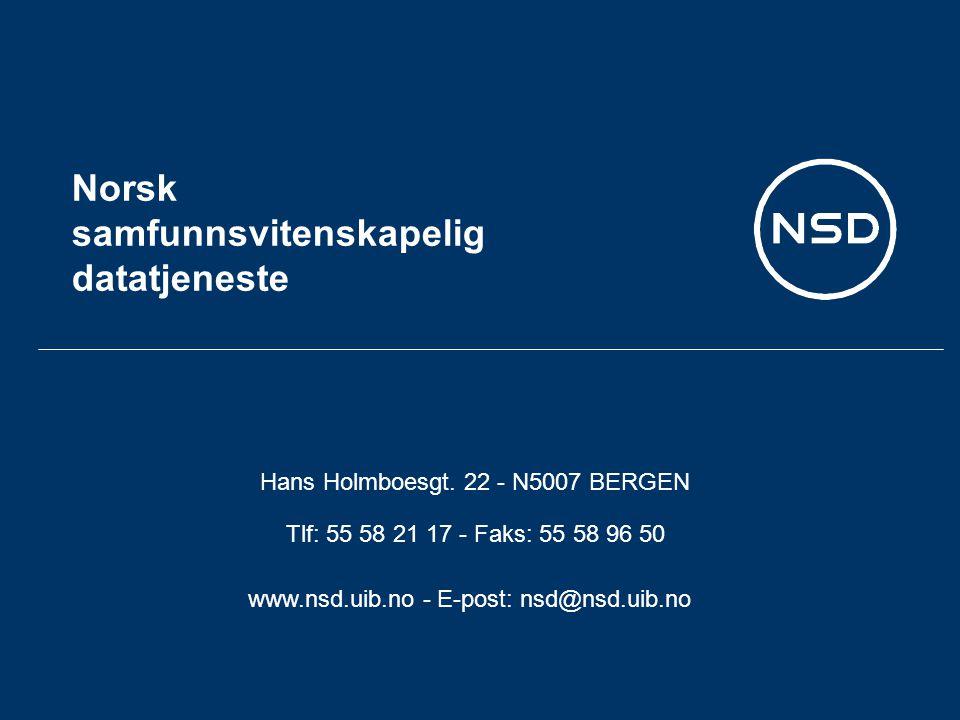 Norsk samfunnsvitenskapelig datatjeneste Hans Holmboesgt.