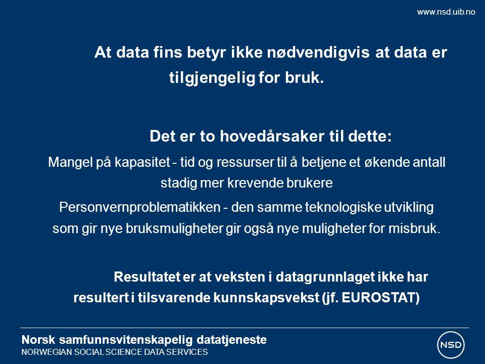 Norsk samfunnsvitenskapelig datatjeneste NORWEGIAN SOCIAL SCIENCE DATA SERVICES Er det mulig å ivareta personvernet samtidig som det åpnes for relativt bred tilgang til data, f.
