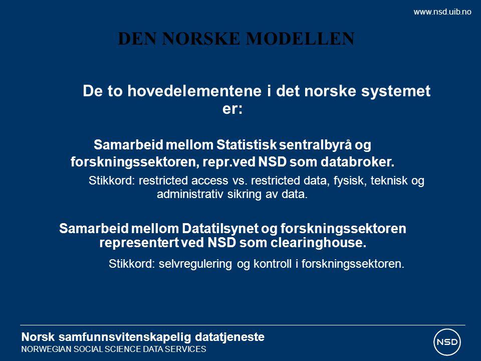 Norsk samfunnsvitenskapelig datatjeneste NORWEGIAN SOCIAL SCIENCE DATA SERVICES De to hovedelementene i det norske systemet er: Samarbeid mellom Statistisk sentralbyrå og forskningssektoren, repr.ved NSD som databroker.