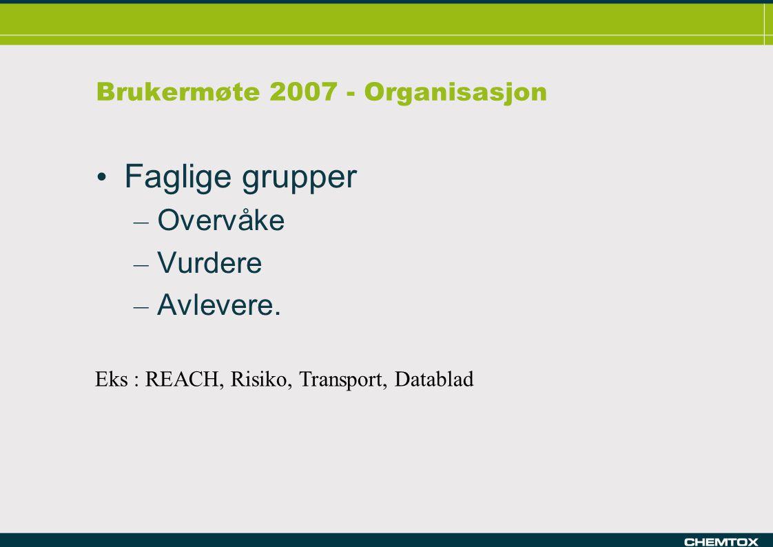 Brukermøte 2007 - Organisasjon Faglige grupper – Overvåke – Vurdere – Avlevere.