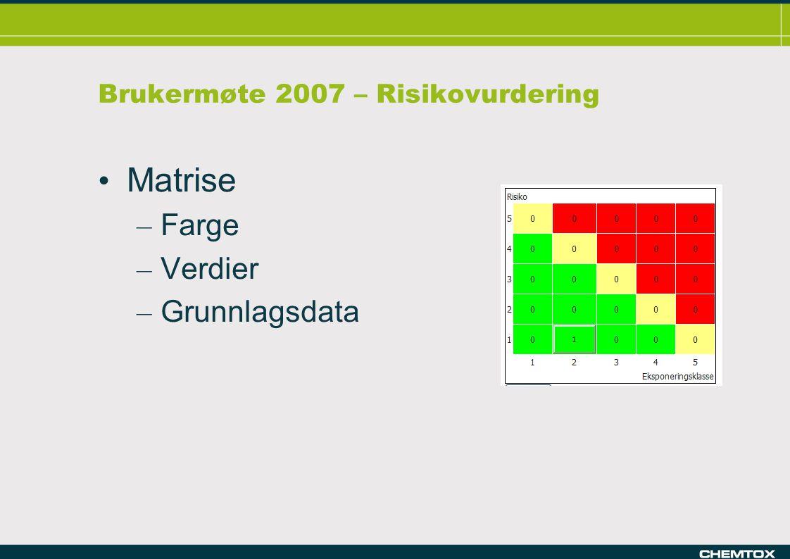 Brukermøte 2007 – Risikovurdering Matrise – Farge – Verdier – Grunnlagsdata