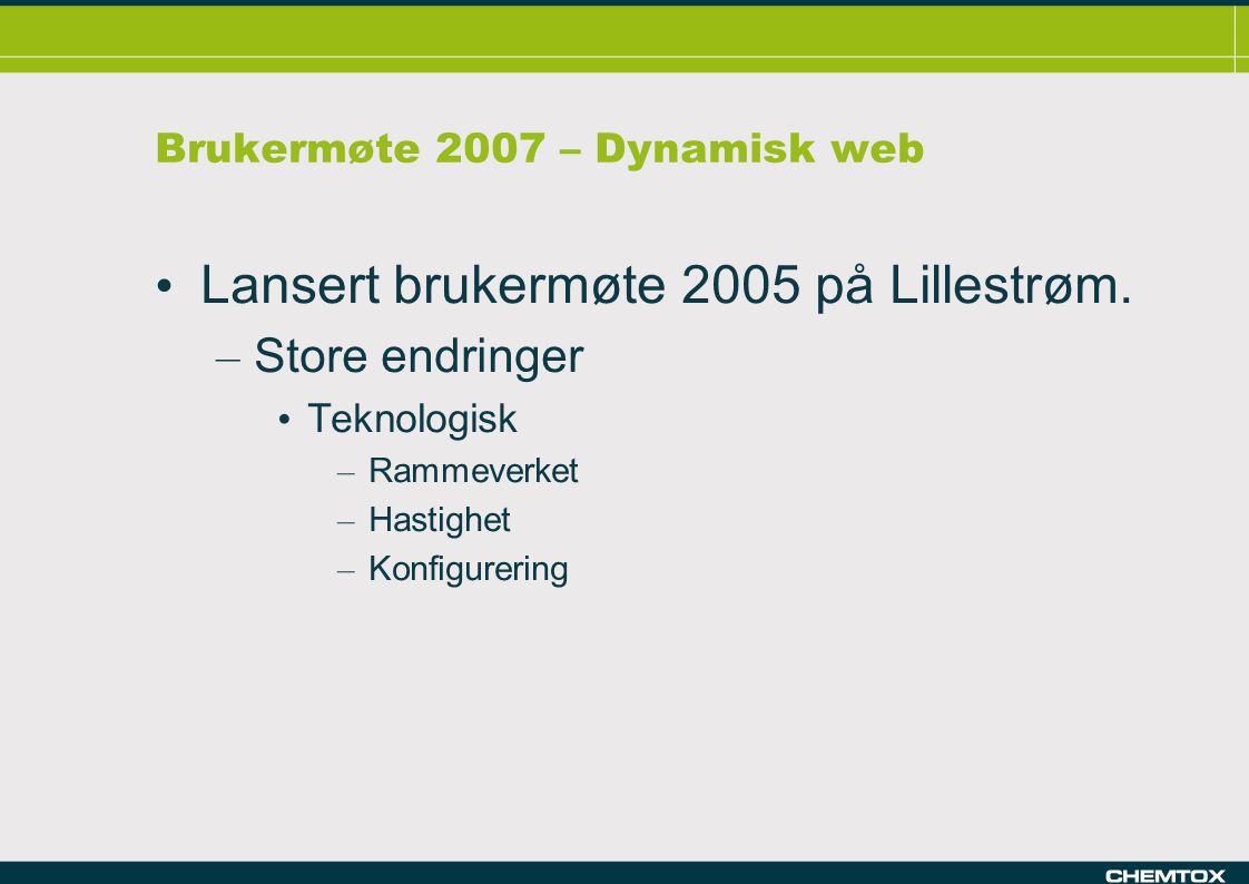 Brukermøte 2007 – Dynamisk web Lansert brukermøte 2005 på Lillestrøm.